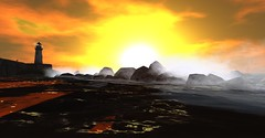 Astray Beach Sunset (wednesdaygrim) Tags: sunset secondlife beach light house waves ocean water rocks sun orange sky cliff scenery landscape