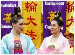Falun Gong Day (donbyatt) Tags: london trafalgarsquare dancing rain wet falungong chinese people candid street