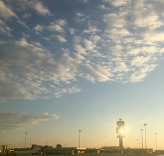 (michel banabila) Tags: milan airport evening sunlight clouds sky plane italy musicforairports sunbeam