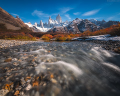 Spillway (Jirawatfoto) Tags: fitz roy argentina autumn patagonia landscape view mount park beautiful nature chalten peak travel national snow scenic blue el scenery sky tree tourism mountain forest mountains fitzroy andes outdoors