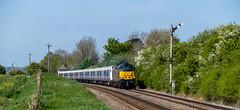 Stock move (Peter Leigh50) Tags: railway railroad rail rural road train trees track fujifilm fuji field semaphore signal xt2