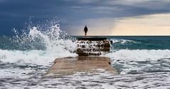 """No fear"" (Vest der ute) Tags: g7xm2 g7xll sea water women montenegro waves sky clouds seaspray stairs foam fav25 fav200"