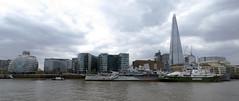 On The River Thames (Sandra L Ekins) Tags: riverthames london cityhall shard theshard hmsbelfast greenpeaceboat river thames