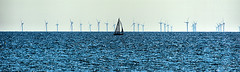 Wind Farm (Croydon Clicker) Tags: sea ocean englishchannel sussex eastsussex boat sail water wideview minimalistic blue nikkor seaford