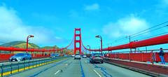 On and under the Golden Gate Bridge: A series (+4) (peggyhr) Tags: peggyhr goldengatebridge red deck cars candid sky clouds sunshine white blue hills yellow panorama dsc00601ax sanfrancisco california usa thegalaxy thegalaxystars frameit~level01~ photospleasure001 photospleasure005 dslrautofocuslevel1 infinitexposurel1 groupecharlie01 thegalaxylevel2 thegalaxyhalloffame