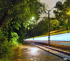 late night express (Nagy Gábor István) Tags: tram villamos long expo lights rainy forest night cloudy dark green yellow speed fast hungary budapest