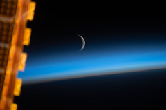 Waxing Crescent Moon Above Earth's Limb (NASA's Marshall Space Flight Center) Tags: nasa internationalspacestation iss astronauts space earth expedition59 moon