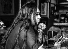 bar scene - Jen (columnsovsleep) Tags: iphoneography iphonex shotoniphone iphone woman portrait bnw blackandwhite black