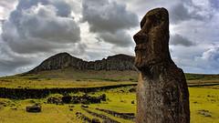 Moai and Rano Raraku volcano, Easter Island (David D Moore) Tags: easterisland rapanui isladepascua moai ahutongariki ranoraraku anakena ahuakivi theseven birdmancult birdman birdmen orongo ahutahai koteriku tahai vaiure ranokau polynesia chile