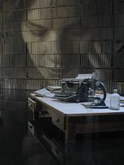 The Study Portrait of Lily Sullivan - Rone Empire Installation Exhibition; Burnham Beeches, Sherbrooke (raaen99) Tags: roneempire roneempireexhibition rone tyronewright portrait lilysullivan painting streetart empireexhibition roneempireinstallation empireinstallation art artinstallation artexhibition installation exhibition burnhambeeches dandenongranges dandenongs victoria australia sherbrooke burnhambeechesmansion burnhambeechessherbrooke melbourne artdeco deco interior artdecointerior graffiti graffitiart ephemera ephemeral temporary decaying decayed harrynorris architecture architecturallydesigned artdecobuilding artdecomansion artdecohouse streamlinemoderne streamlinemodernearchitecture streamlinemodernehouse streamlinemodernemansion artdecoarchitecture alfrednicholas decay typewriter desk water blackwater underwoodtypewriter library study chair books bookshelves bookshelf thestudy bottle picture lamp standardlamp microscope science