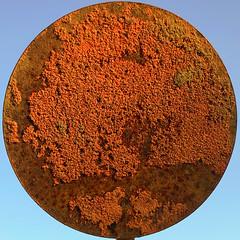 Hydrant Marker (Timothy Valentine) Tags: squaredcircle large sky rust 2019 0519 eastbridgewater massachusetts unitedstatesofamerica