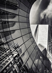 Bends with Benefits (Carl's Captures) Tags: sofitelchicagomagnificentmile cityscape architecture reflections monochrome panels abstract goldcoast curves repetition may spring chicagoillinois cityofchicago downtown cookcounty urban thewindycity chitown clouds vertical patterns mirrored geometric nikond7500 sigma18300 photoshopbyfehlfarben thanksbinexo