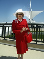 My Sedate, Composed, Serene, Dignified Attempt At Being A Lady (Laurette Victoria) Tags: calatrava downtown milwaukee lady suit red purse sunglasses laurette woman hat