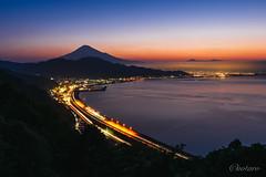 Mount Fuji at magic hour (aotaro) Tags: mountain magichour lighttrails fe1635mmf4zaoss ilce6000 sunriseocean highway shizuoka a6000 magicmoment mountfuji sony lightstreams japan atdawn sea