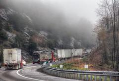 18-wheelers climbing a foggy Fancy Gap Mountain on Interstate 77 in Fancy Gap Virginia (PhotosToArtByMike) Tags: fancygapvirginia fancygapmountain 18wheelers fancygap virginia va shenandoahvalley blueridgeparkway southwesternvirginia carrollcounty interstate77