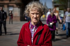 Six Years of Street Photography! (Leanne Boulton) Tags: urban street candid portrait portraiture streetphotography candidstreetphotography candidportrait streetportrait eyecontact candideyecontact streetlife old elderly woman female lady face eyes expression emotion mood feeling skin wrinkles aged colourful bright red tone texture detail depthoffield bokeh naturallight outdoor sunlight light shade shadow city scene human life living humanity society culture lifestyle people canon canon5dmkiii 70mm ef2470mmf28liiusm color colour glasgow scotland uk