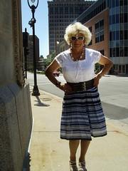 Believe Me, Blondes Actually DO Have More Fun :) (Laurette Victoria) Tags: downtown milwaukee blonde skirt woman laurette blouse necklace sunglasses