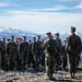 Marines conduct a promotion ceremony on top of the Donnelly Dome mountain during exercise Northern Edge