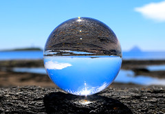Islands of Pladda and Ailsa craig (Dave Russell (1.5 million views thanks)) Tags: ball crystal glass lens lensball coast coastal water sea ocean marine maritime shore line shoreline pladda ailsa craig ildonan isle island arran west western scotland ecosse clyde view scene scenic art arty canon eos eos7d 7d outdoor rock rocks reflection
