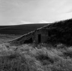 Structure, Eastern Washington (austin granger) Tags: structure palouse washington farming hills doorway grass square film gf670