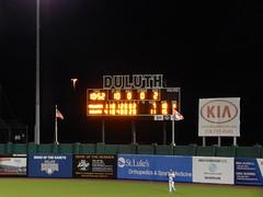 DSCN3908 (mestes76) Tags: 060818 duluth minnesota stadiums wadestadium baseball sports nwl northwoodsleague duluthhuskies scoreboard