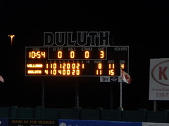DSCN3913 (mestes76) Tags: 060818 duluth minnesota stadiums wadestadium baseball sports nwl northwoodsleague duluthhuskies scoreboard