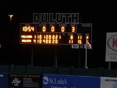 DSCN3914 (mestes76) Tags: 060818 duluth minnesota stadiums wadestadium baseball sports nwl northwoodsleague duluthhuskies scoreboard