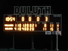 DSCN3917 (mestes76) Tags: 060818 duluth minnesota stadiums wadestadium baseball sports nwl northwoodsleague duluthhuskies scoreboard