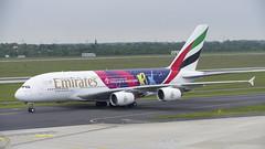 A6-EOH Airbus A380-861 (ICC Cricket World Cup 2019 Livery) (4) (Disktoaster) Tags: dus düsseldorf airport flugzeug aircraft palnespotting aviation plane spotting spotter airplane pentaxk1