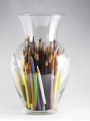 Batman's Colored Pencils (☼☼ Jo Zimny Photos☼☼) Tags: vase odc glass coloredpencils batmanshadow