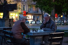 Moody evening in the most atmospheric part of Szczecin - lets play chess! (stettiner.graf) Tags: polska poland night moody evening street streetphotography genrescene moodyevening fujixt1 fujifilm zachodniopomorskie vorpommern stettin szczecin