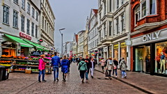 Downtown Flensburg (Steenjep) Tags: street gade bygning building hdr flensborg flensburg people shop city by streetlife