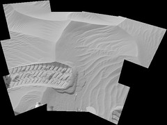 Cresting a Ripple, encoded (sjrankin) Tags: 18may2019 edited panorama tracks treadmarks wheelmarks sand ripples craterfloor galecrater msl curiosity nasa mars grayscale bayerencoded