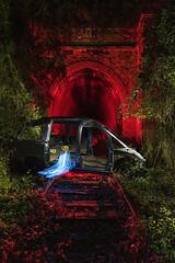 waiting next train (Sergi Boix) Tags: skull light lightpainting lallumdelanit darkness rail train crash car wagon tunnel tunel cotxe nit foscor calabera alma soul tren