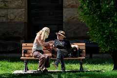 'The Conversation' (Canadapt) Tags: men park bench grass tree animated debate conversation cityhall toronto canadapt