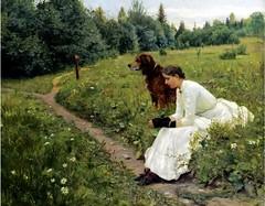 Munthe, Gerhard (1849-1929) - 1886 Idyll (Sotheby's London, 2010) (karadogansabri) Tags: gerhardmunthe munthe painter 19thcentury norwegian 1886 1880s idyll sothebys animal dog figure landscape realism