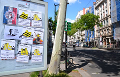 Yellow jackets on the wall (Jeanne Menjoulet) Tags: yellowjackets giletsjaunes affiches lyon cicf privatisations écologie fraudefiscale évasionfiscale macron servicespublics bienspublics hôpitaux isf justice flashball