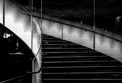 Stairway to ..... (OzzRod (on the wallaby)) Tags: pentax k1 smcpentaxdfa50mmf28macro abstract blackandwhite monochrome stairway stairs airport doha qatar pentaxart