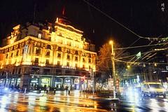 Street intersection at night (A. Wee) Tags: lucerne switzerland 卢塞恩 瑞士 luzern 夜晚 hotel 酒店 pilatusstrasse