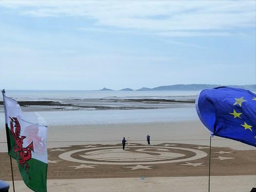 The swan taking shape on Swansea beach - Mumbles in distance