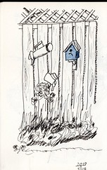 Fence with blue house (Douglas Thayer) Tags: sketch sketchbook fence birdhouse douglasthayer penandink watercolor
