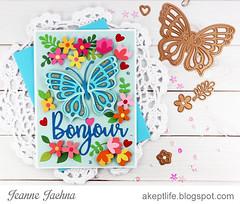 Bonjour (akeptlife) Tags: spellbinders largedieofthemonth butterfly bonjour neverstopmaking card cardmaking craftdie die flower floral