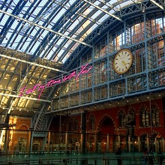 """""""I want my time with you..."""" London (2minority.report) Tags: utopia trainstation travelling architecture eurostar love travel time london"""
