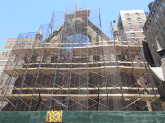 2019 Trinity Chapel Church Rebuilding after 2016 Fire 8565 (Brechtbug) Tags: 2019 trinity chapel complex church ruin from fire 05032016 may 3rd 2016 located flatiron district 15 west 25th street between broadway avenue americas 6th 05182019 constructed 185055 was designed by architect richard upjohn english gothic revival style gutted ruins nyc urban new york city manhattan later named serbian orthodox cathedral st sava saint bust nikola tesla stands outside