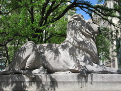 2019 Lion Under Shady Branches New York Public Library 8751 (Brechtbug) Tags: 2019 lions new york public library statues lion hanging shadows 42nd street 5th avenue nyc 05182019 may springtime soon spring weather eventually animal cat feline statue sculpture art cats ave st gargoyles gargoyle reclining repose resting facade stairs front entrance