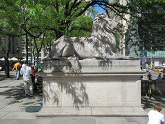 2019 Lion Under Shady Branches New York Public Library 8749 (Brechtbug) Tags: 2019 lions new york public library statues lion hanging shadows 42nd street 5th avenue nyc 05182019 may springtime soon spring weather eventually animal cat feline statue sculpture art cats ave st gargoyles gargoyle reclining repose resting facade stairs front entrance