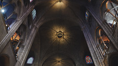 Inside Notre Dame (bluefantail) Tags: a7s window pentax takumar paris panorama sony shadows hdr france vaultedceiling vaulted cathedral glass stainedglass notredame mirrorless brick stone dome architecture arch building
