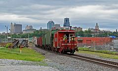 UP Yard Job in Kansas City, MO (Grant Goertzen) Tags: up mp missouri pacific union caboose shoving platform bay window short yard job transfer kansas city railroader freight omaha main