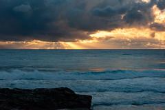 Golden Rays of the Gold Coast (armct) Tags: sunrise rainfront weather horizon skyline cloud dense golden crepuscular rays incandescent reflection snapperrocks goldcoast surf waves foam shoreline rocks