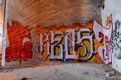 Fire Spinning Sparks Complimenting Hot New Montreal Graffiti (@mjmantis Montreal Urban Photos) Tags: montreal graffitiart canada urbex graffitilife longexposure lightpainting mtl abandoned urbanart urban urbexworld grey graffiti urbanphotography urbanexploration citylife